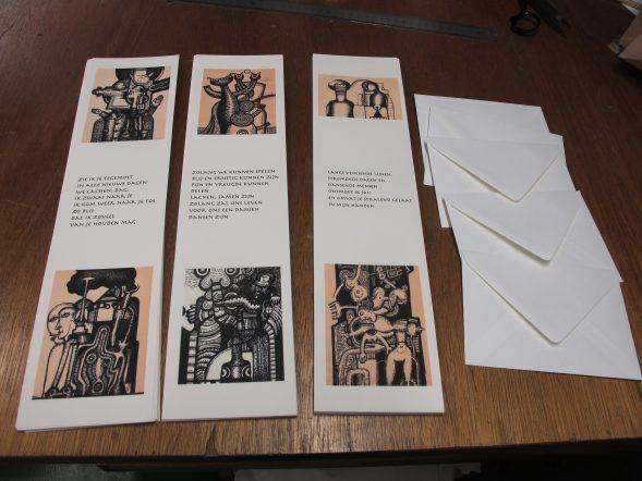 hand bookbindery Seugling boekbinderij seugling handmade limited editions uitgeverij Gerie Schaafsma poezie kunst Jaap Jungcurt J.H.Jungcurt handmade cards kaarten